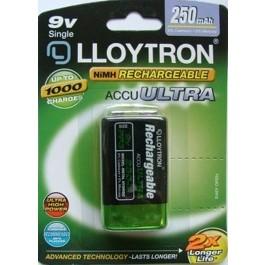 LLOYTRON 250mAh NI-MH 9V SIZE RECHARGEABLE BATTERY