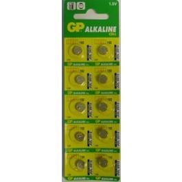 10 X GP LR41/AG3/ L736/192 1.5 V CELL BATTERIES.