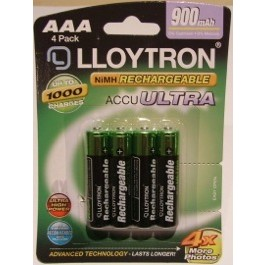 4 X LLOYTRON 900 mAh AAA SIZE NI-MH RECHARGEABLE BATTERIES