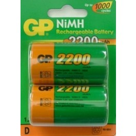 2 X GP 2200mAh NI-MH D-SIZE RECHARGEABLE BATTERIES