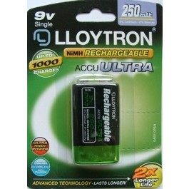 LLOYTRON 250mAh NI-MH 9V SIZE RECHARGEABLE BATTERY