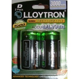 LLOYTRON 3000mAh NI-MH D-SIZE ACCU ULTRA RECHARGEABLE BATTERIES