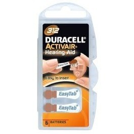 PACK OF 6 DURACELL ACTIVAIR 312 1.4v HEARING AID BATTERIES