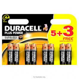 DURACELL PLUS alkaline AA batteries, 5+3 FREE (8pk)