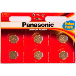 6 X PANASONIC CR2032 LITHIUM BATTERIES